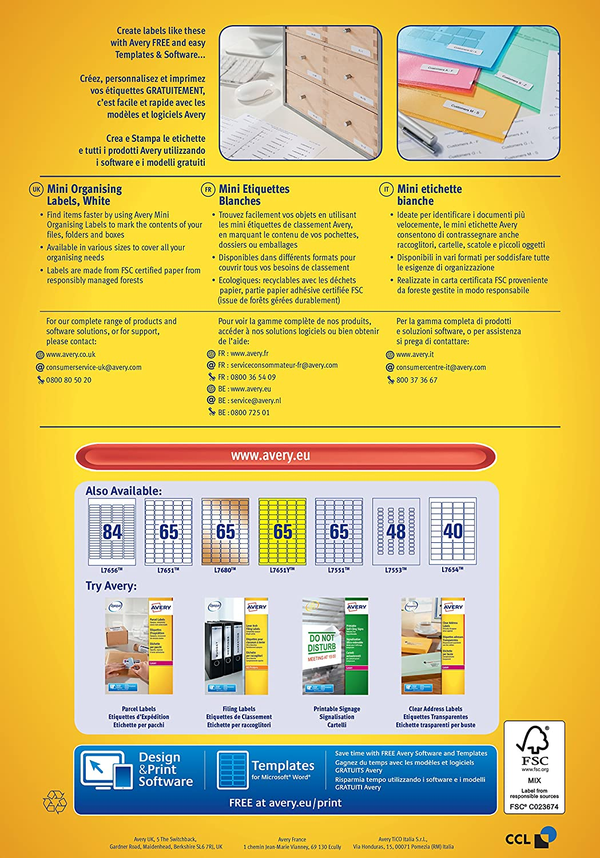 Avery L7654-100 - Etiquetas para impresora laser (45.7 x 25.4 mm ...