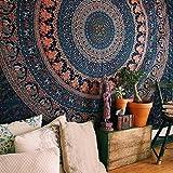 Craftozone Elefante Indio Peacock Mandala Tapestry, India Hippie Tapiz, Colgar en la Pared, Bohemio Tapiz Colgar en la…