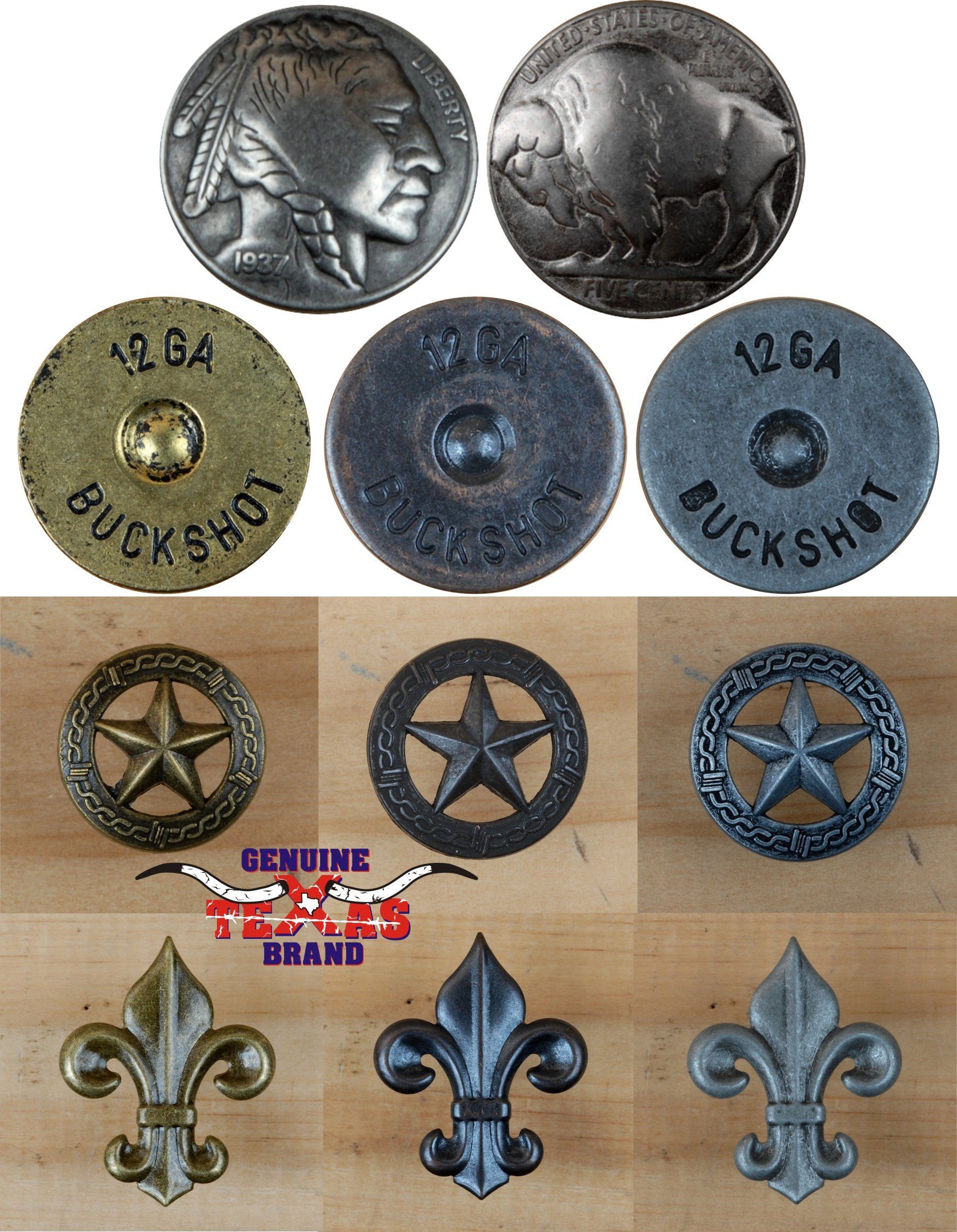 25 Buffalo Nickel Upholstery Framing Tacks, Decorative Nails 7/8 Dia 1/2'' Long Concho by Genuine Texas Brand (Image #4)