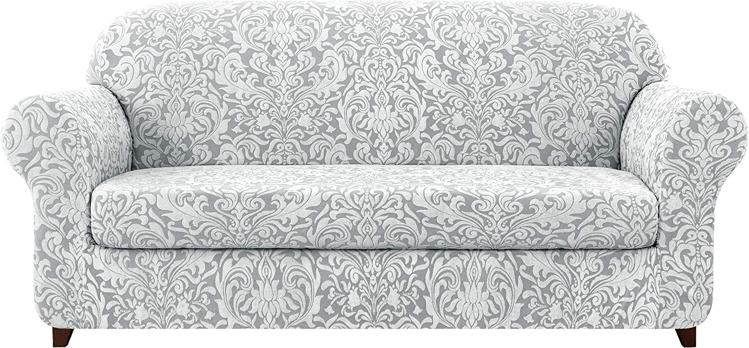 subrtex Sofa Cover Couch Cover 2-Piece Jacquard Damask Christmas Slipcovers for 2 Cushion Couch Stretch Furniture Protector Chair Covers for Living Room Kids, Pets(Medium,Light Smoky Gray)