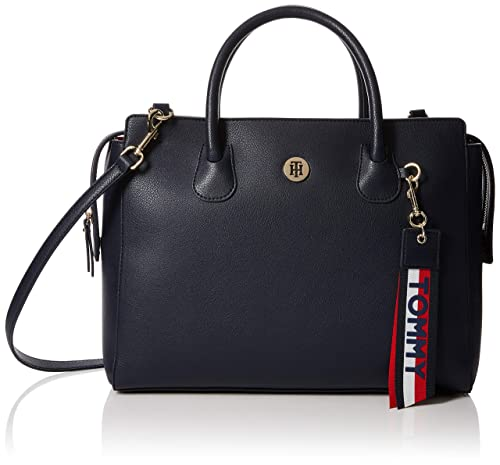 Tommy Hilfiger - Charming Satchel, Bolso Mujer, Azul (Tommy Navy/Core Stp