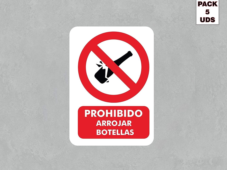Pack 5 Señales de Prohibido Arrojar Botellas | Medida 14,85x21cm | Señaletica en Vinilo Adhesivo Monomérico | Duradera y Económica