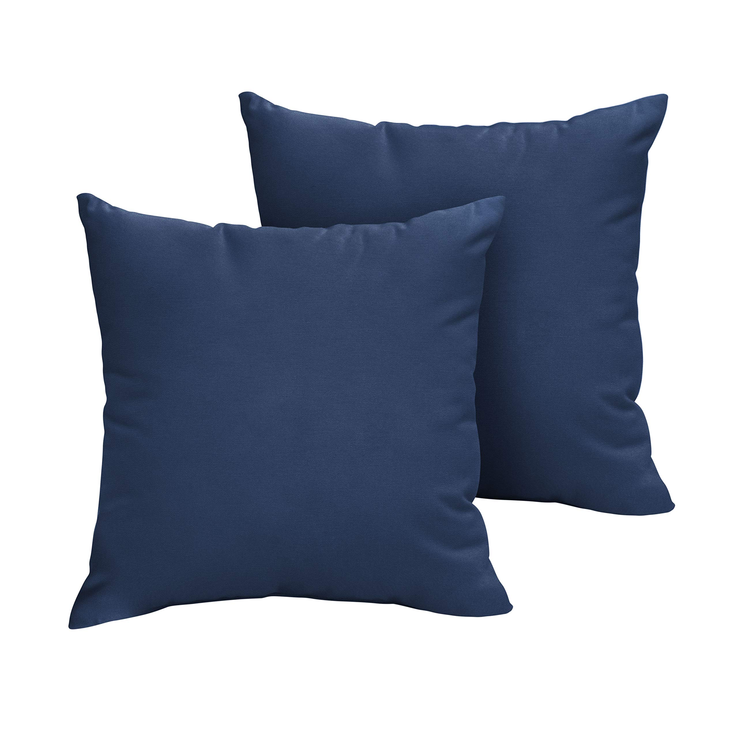 1101Design Sunbrella Canvas Navy Knife Edge Decorative Indoor/Outdoor Square Throw Pillows, Perfect for Patio Décor - Canvas Navy Blue 20'' (Set of 2)