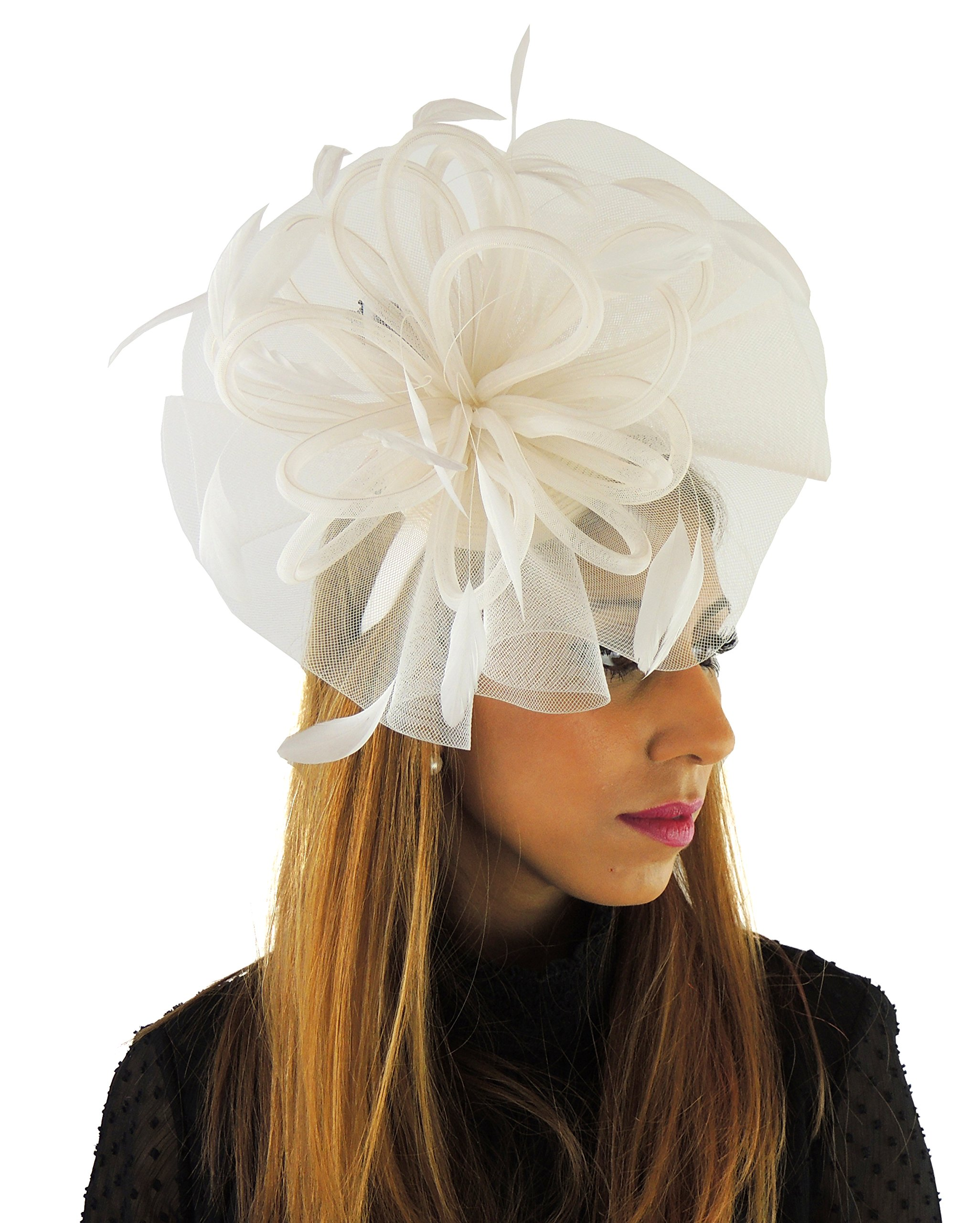 Hats By Cressida Ladies Wedding Races Ascot Derby Fascinator Headband Ivory by Hats By Cressida