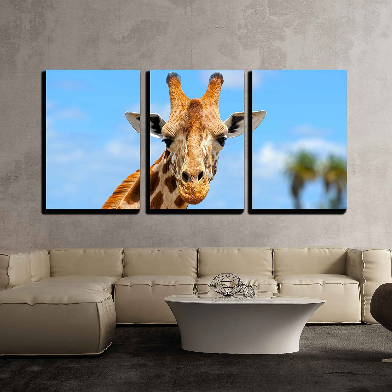 Wall26 3 Piece Canvas Wall Art Giraffe In Front Amboseli National Park Kenya Modern Home Decor Stretched And Framed Ready To Hang 16 X24 X3