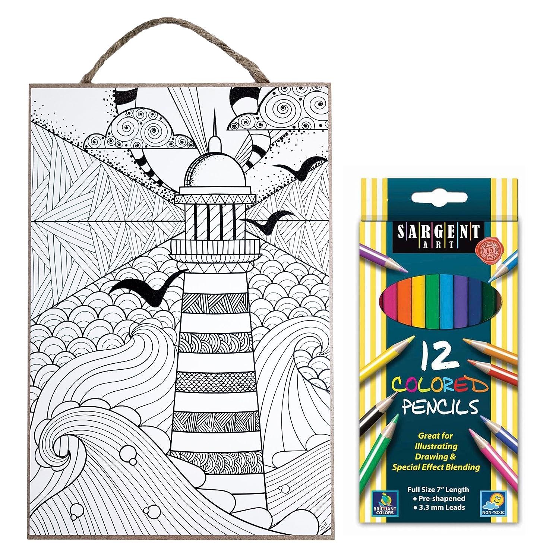 Sea Turtle 7 x 10.5 Coloring Plaque Colored Pencils SJT ENTERPRISES INC