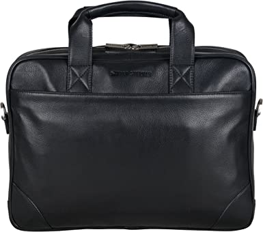 RFID Black Ben Sherman Leather Double Compartment 15 Flapover Laptop Business Portfolio