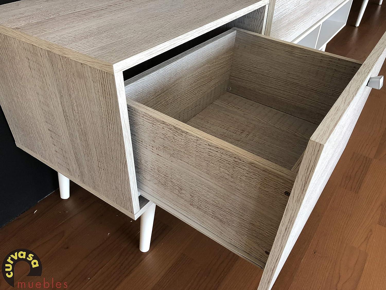 Mueble Comedor Salón Moderno Color Roble Blanco Medidas 240 x 130 cm ...