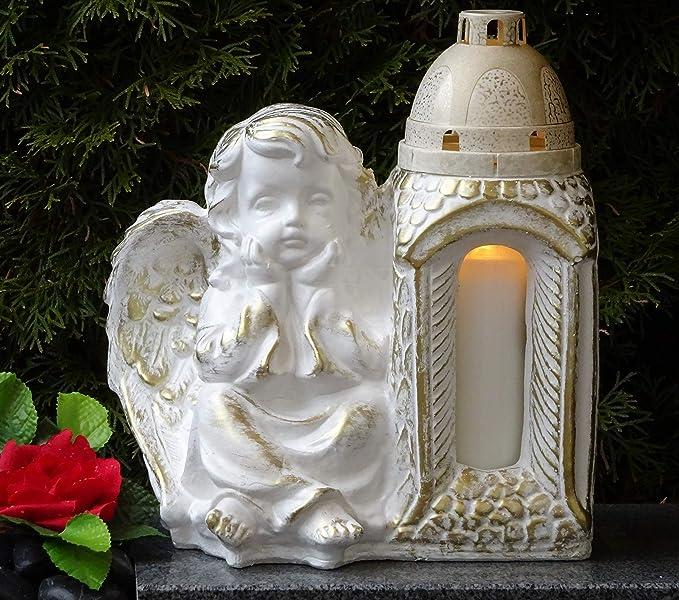 Grablaterne Grablampe Lampe Grableuchte Grablicht Grabschmuck  Engel Grabstein