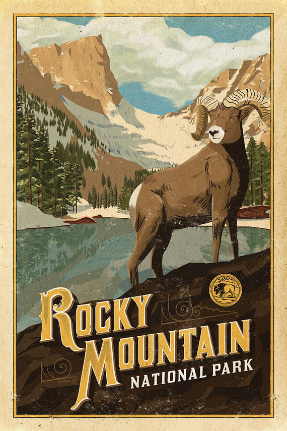 Rocky Mountain Poster Rocky Mountain National by NationalParkArt​