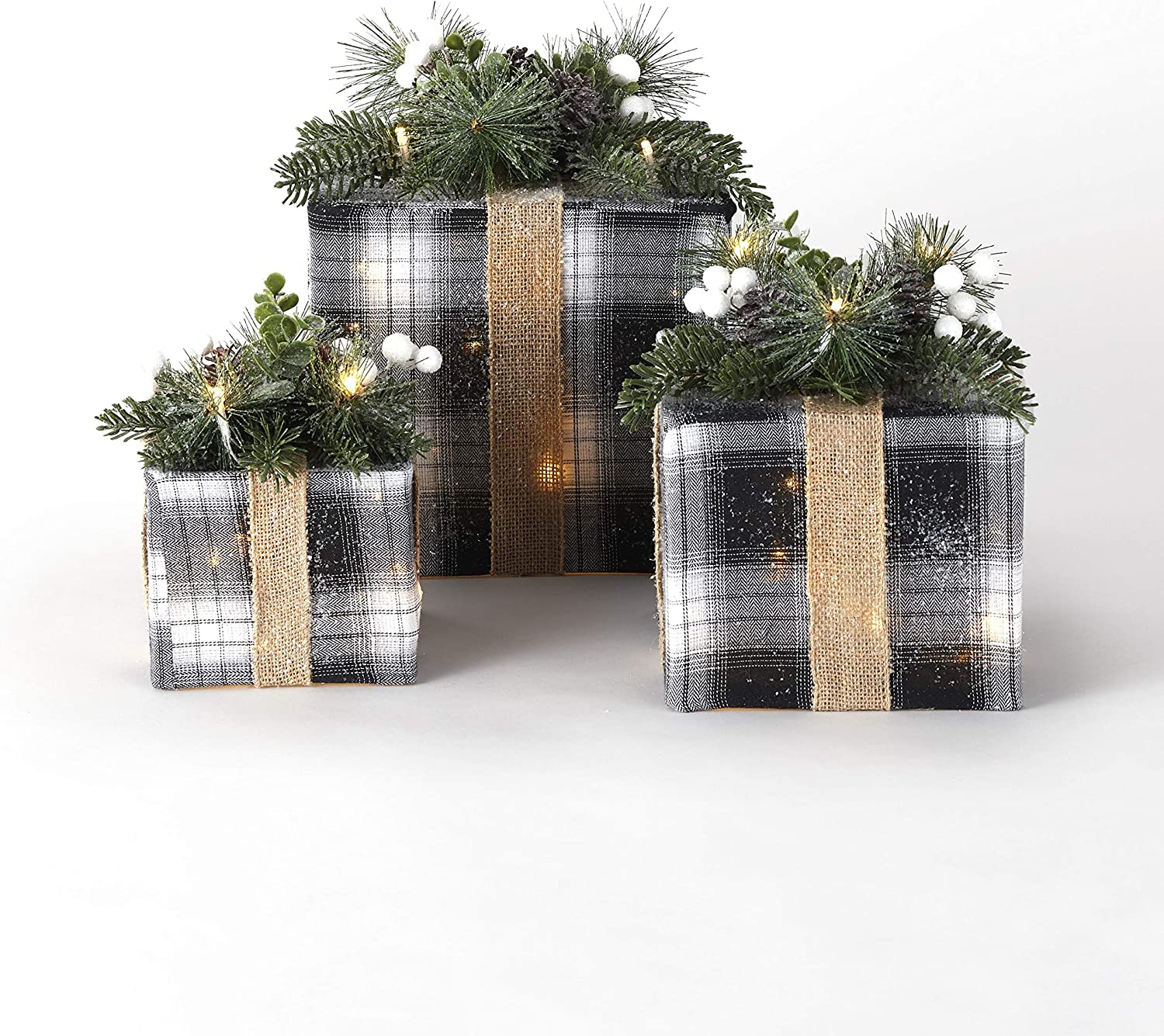 The Lakeside Collection Lighted Box Decorations for Indoors - Black/White - 3 Pieces
