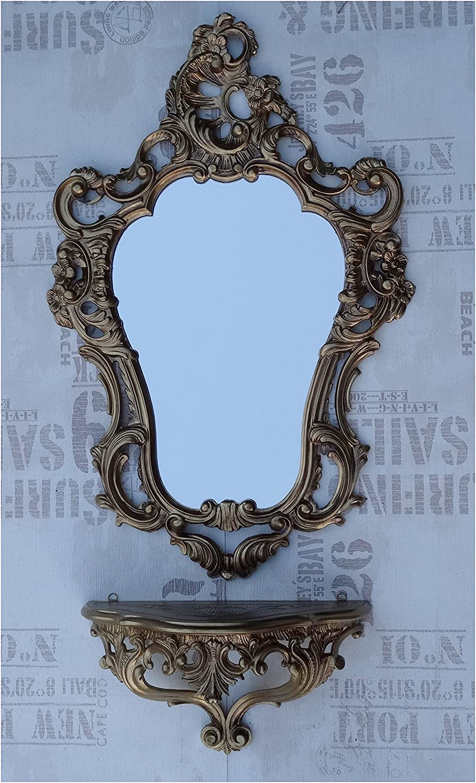mensola da Parete Lnxp Set 2 Pezzi in Oro Composto da Specchio da Parete consolle da Parete Ovale Barocco Anticato 50 x 76 cm mobili da Ingresso mobili Console Specchio