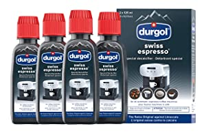Durgol Swiss Espresso Machine Descaler/Decalcifier Solution, 4 Count