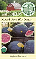 Seed Savers Exchange 0266 Organic Open-pollinated Watermelon Seeds, Moon and Stars (Van Doren), 25 Seed Packet