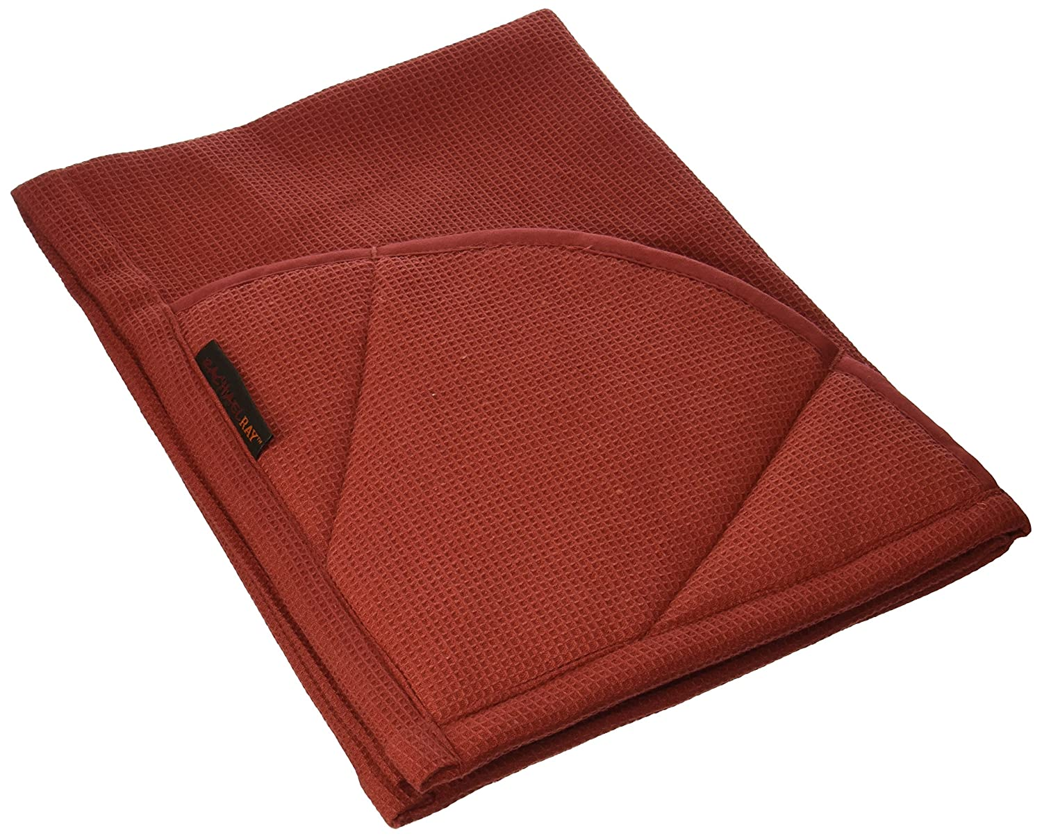 Rachael Ray Kitchen Towel and Oven Glove Moppine – A 2-in-1 Ultra Absorbent Kitchen Towel with Heat Resistant Pot-Holder Padded Pockets to Handle Hot Cookware and Bakeware,Brick Red