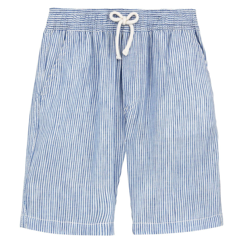 Vilebrequin Micro-Stripped Linen Bermuda Shorts - Boys - 12 Years - Blue-Sky