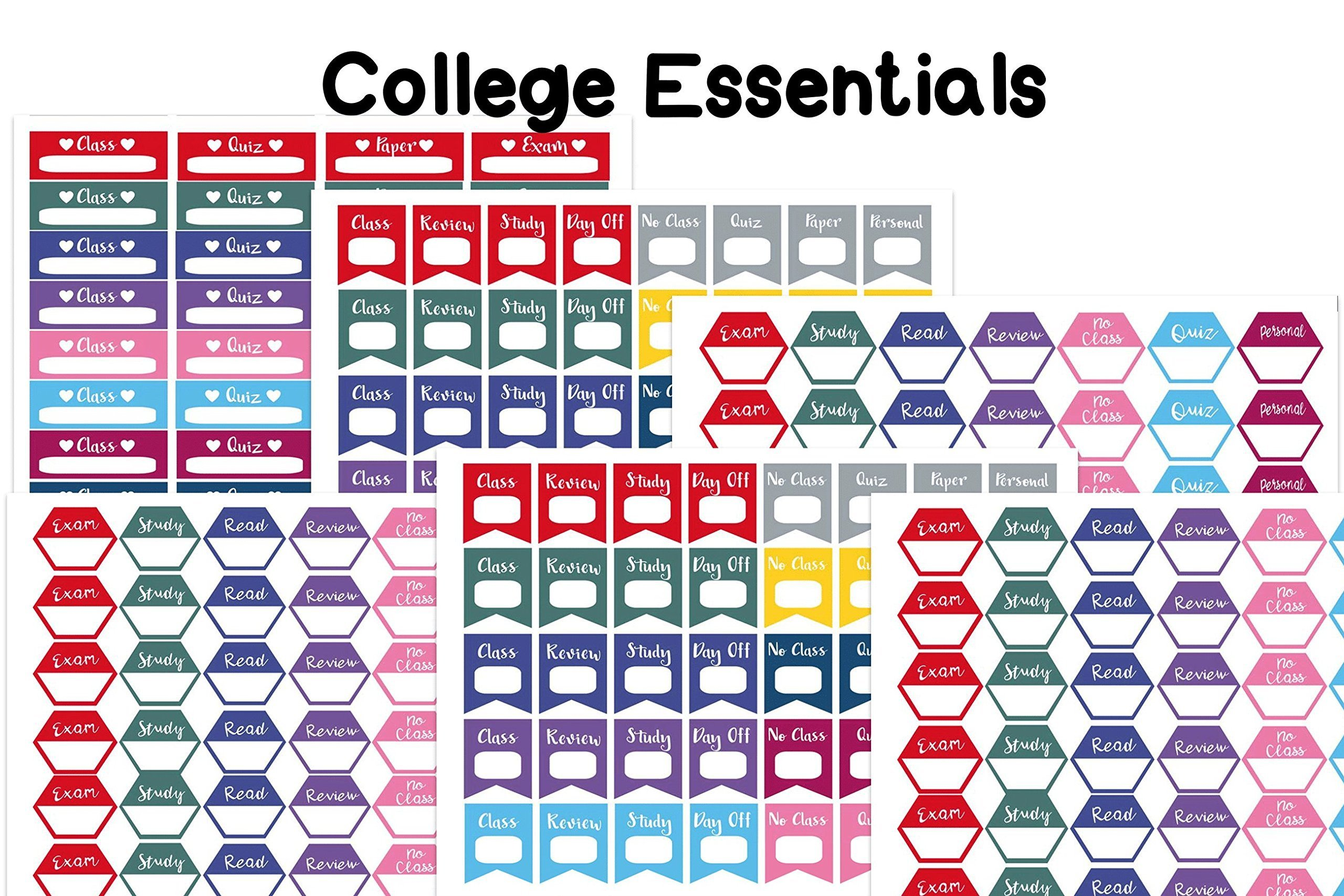 College Essential planner/organizer stickers. 6 sheets on matte sticker paper. Sized to fit most planners.