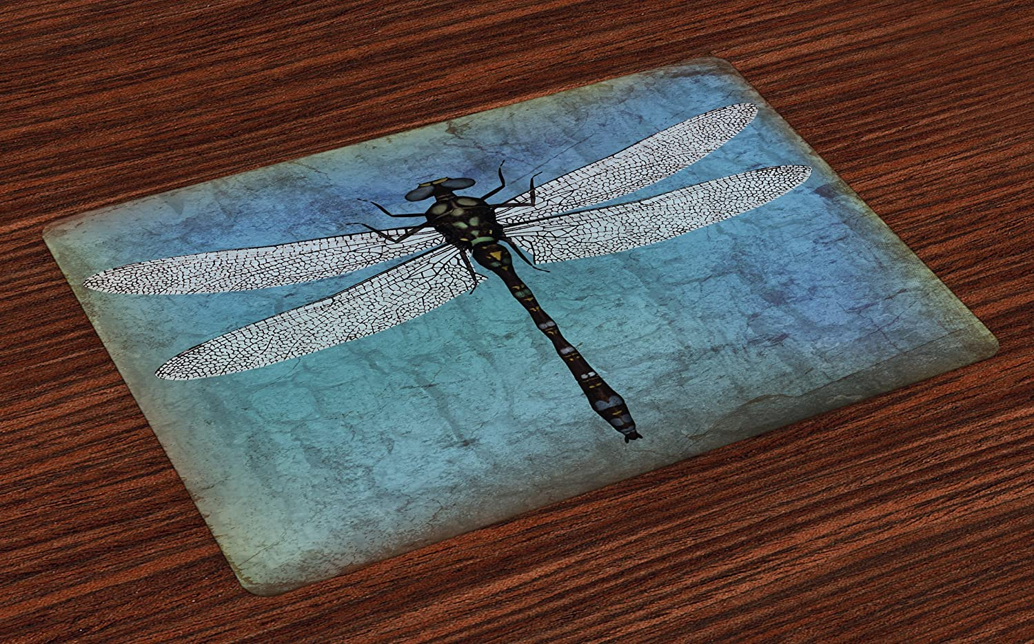 Ambesonne Dragonfly Place Mats Set of 4, Grunge Vintage Old Backdrop and Dragonfly Bug Ombre Image, Washable Fabric Placemats for Dining Room Kitchen Table Decor, Blue Turquoise