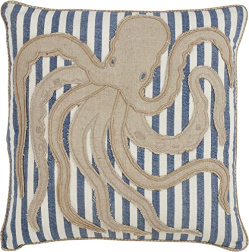 SARO LIFESTYLE Pensacola Collection Striped Octopus Throw Pillow With Down Filling 18 Navy Blue