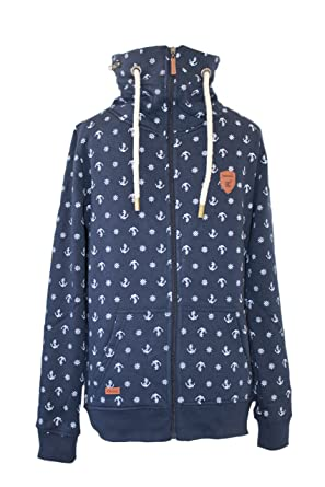 Anker Be Maritime Marineblau Sweatjacke Stehkragen Damen Jacke Cool SRqwSa6