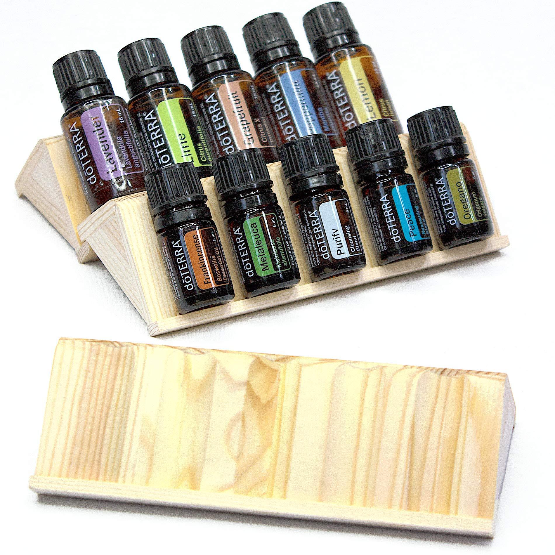 Essential Oils Storage Set - 3pc Wooden Display Racks that Holds 15 Oil Bottles (5mL - 30mL) - Expandable Holders for Organizing & Storing Oils
