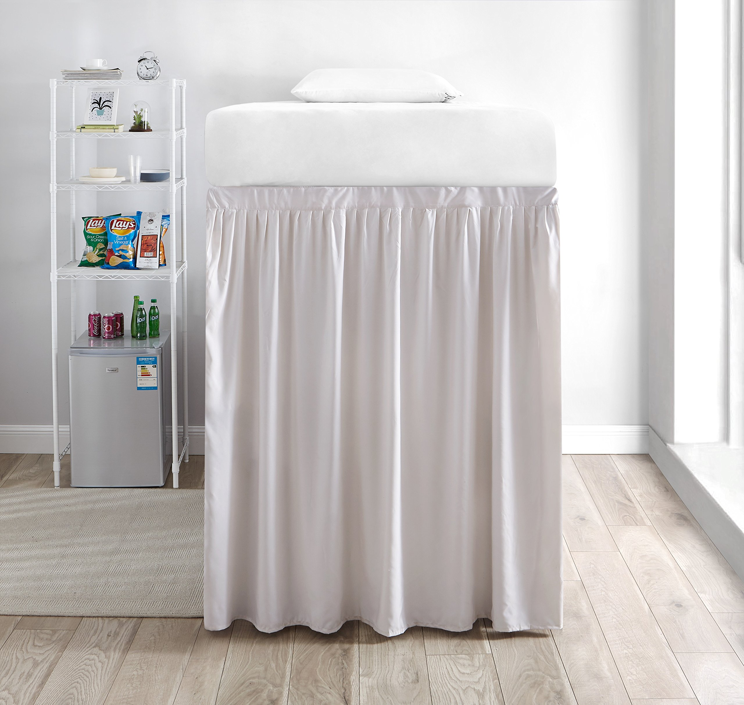 Extended Dorm Sized Bed Skirt Panel with Ties (1 Panel) - Jet Stream (For raised or lofted beds)