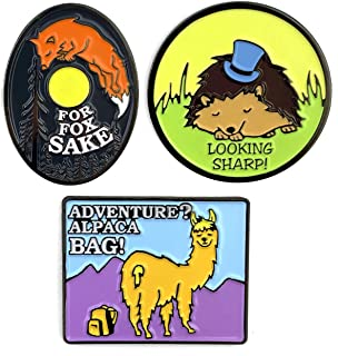 product image for Flowfold Adventure Animal Pins Enamel Pin Sets for Backpacks, Jackets and Bags - Adventure Pun Pins (Set of 3: Fox Pin, Hedgehog Pin, Alpaca Pin)