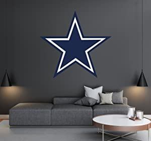 "Dallas Cowboys - Football Team Logo - Wall Decal Removable & Reusable For Home Bedroom (Wide 20""x20"" Height)"