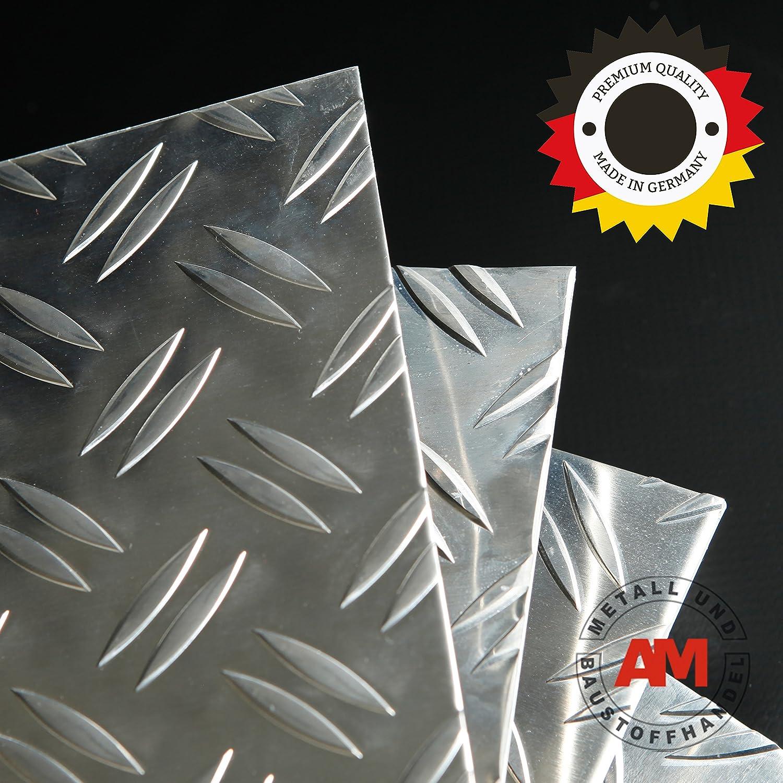 Aluminium T/ôle ondul/ée 1,5//2,0 mm Duett Alu Riffel warze T/ôle larme T/ôle sur mesure Plaque de fond 500x500 mm
