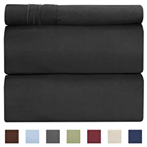 Twin Size Sheet Set - 3 Piece Set - Hotel Luxury Bed Sheets - Extra Soft - Deep Pockets - Easy Fit - Breathable & Cooling - Wrinkle Free - Black Bed Sheets - Twin Sheets - 3 PC Comfy Bed Sheet - Twins