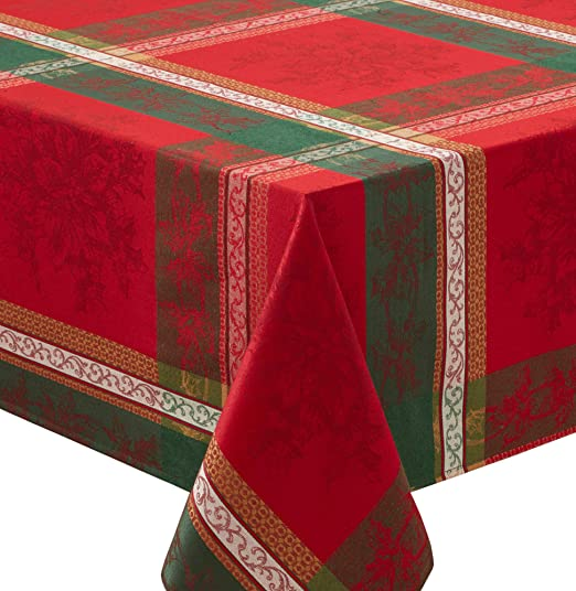 Multi, 18 X 18 Napkins Set of 4 Holiday Legacy Yarn dyed Christmas Tablecloth