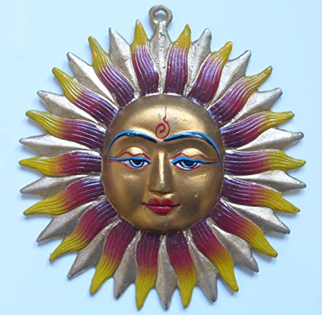 Dios del sol indio Metal pintado pared máscara 19 cm