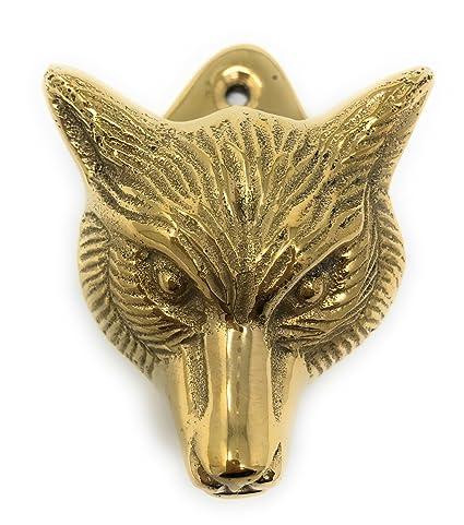 Fox Head Mini Door Knocker Textured Brass, 2.5T