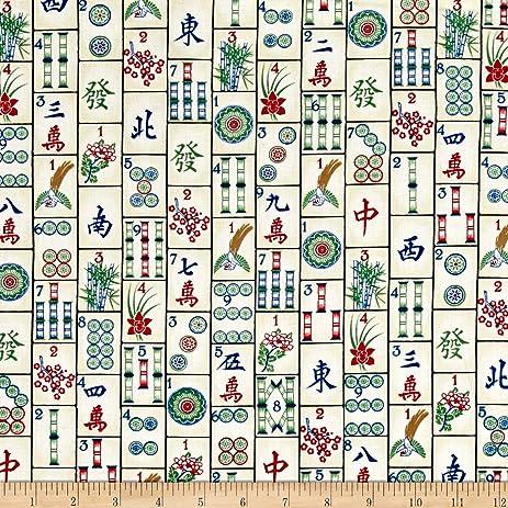 Amazon.com: Timeless Treasures Mahjong Tiles Mahjong Fabric By The ...