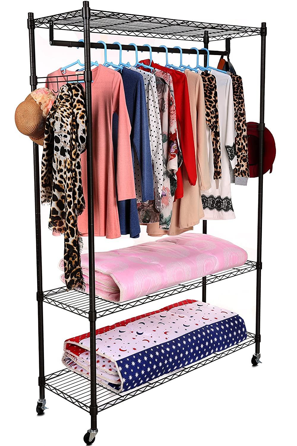Homdox 3-Tiers Large Size Heavy Duty Wire Shelving Garment Rolling Rack Clothing Rack with Double Clothes Rods and Lockable Wheels+1 Pair Side Hooks,Black US01+HX002971_1B