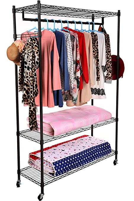 Homdox 3 Tiers Large Size Heavy Duty Wire Shelving Garment Rolling Rack Clothing With