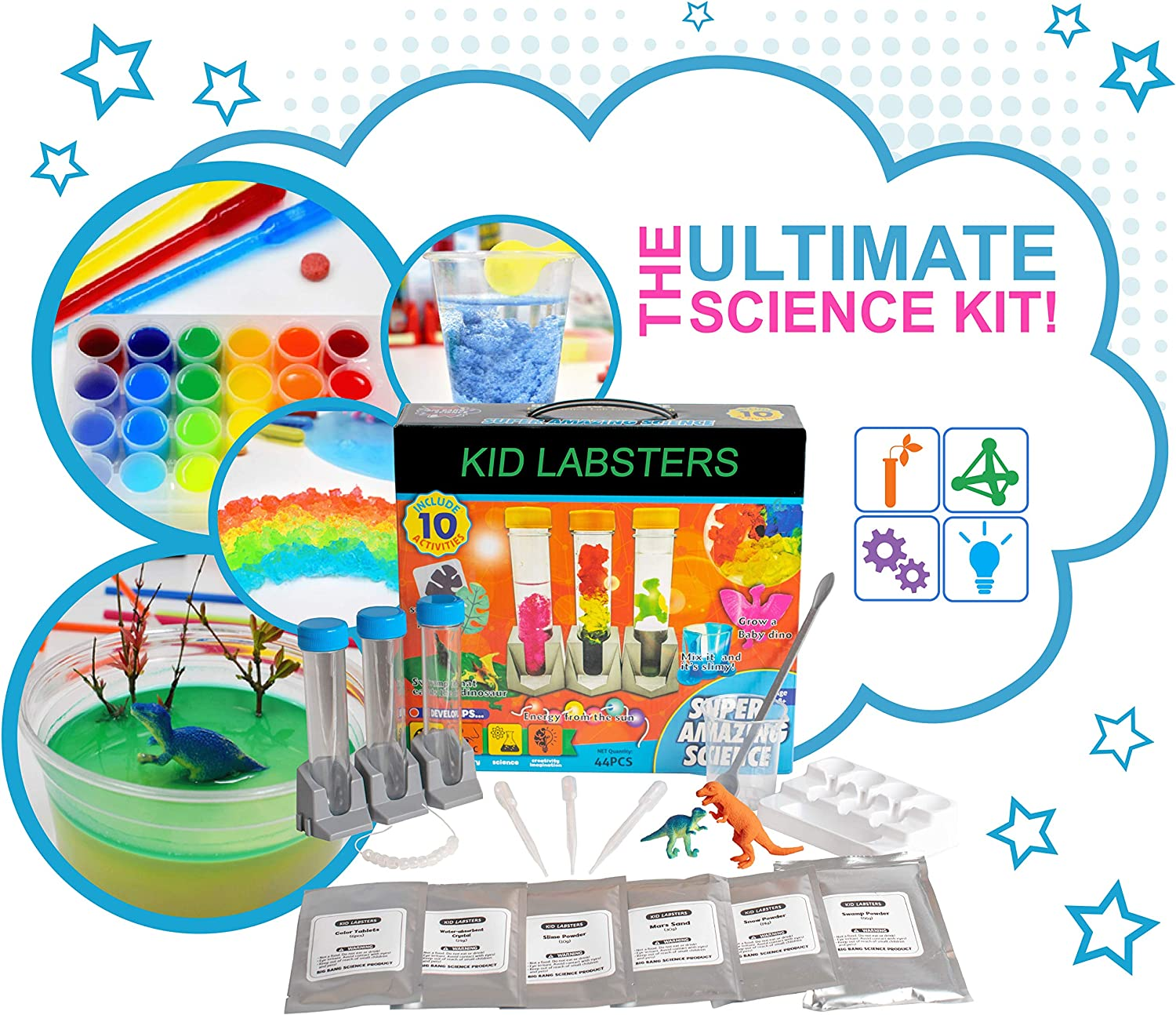 Kid Labsters Science 11-Piece Kit - Explosive Science Fair Chemistry Project w/ Tools & Non Toxic Chemicals - Scientific Experiment & STEM Learning Set for Kids