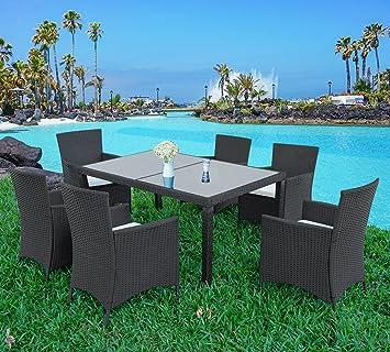 Merax 7 Pieces Outdoor Dining Set with Glass Top PE Wicker Rattan Patio  Garden Furniture Set. Amazon com  Merax 7 Pieces Outdoor Dining Set with Glass Top PE