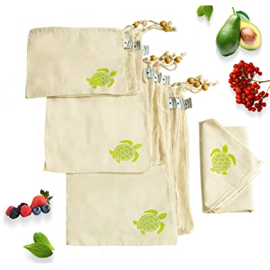 Ecozoi REUSABLE Cotton Produce Bags 10 Piece Set Drawstring Bags, 6 Mesh bags 3 Muslin bags & 1 Swaddle Sheet for Greens, Grocery Shopping and Fridge Storage Bags, Machine Washable & Biodegradable