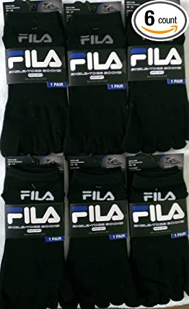 Amazon.com: Pack of 6 Pairs Fila Skele-toes-socks -Men- Black 10-13 (Shoe Size 6-12.5): Sports & Outdoors
