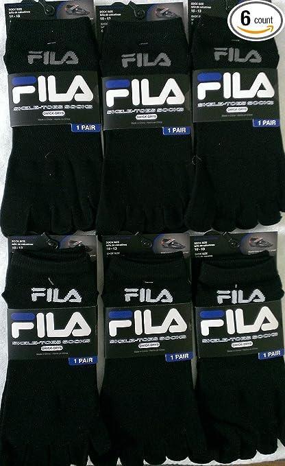 Pack of 6 Pairs Fila Skele-toes-socks -Men- Black 10-