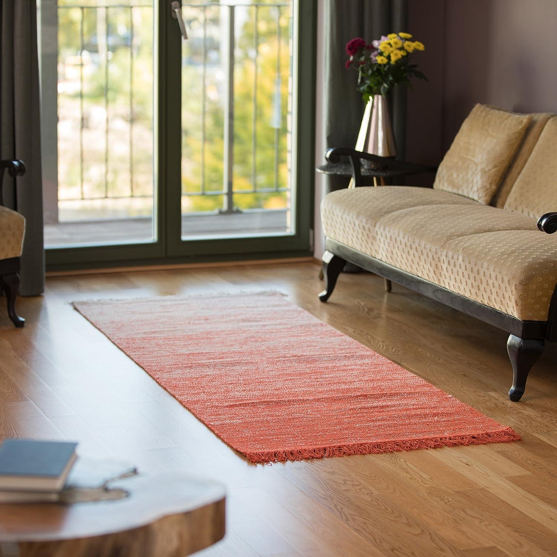 Relaxdays Teppichläufer Flur 200 x 80 cm, handgewebter handgewebter handgewebter Läufer aus Baumwolle, Flachgewebe mit Farbverlauf, schwarz 7b3dd9