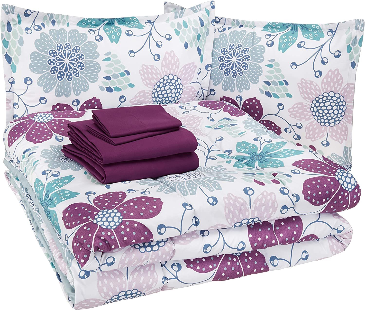 AmazonBasics Easy-Wash Microfiber Kid's Bed-in-a-Bag Bedding Set - Full or Queen, Purple Flowers