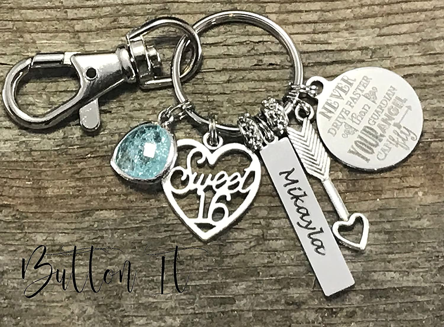 Sweet 16 Key Chain Never Drive Faster Than Guardian Angel Can Fly Birthday Gift