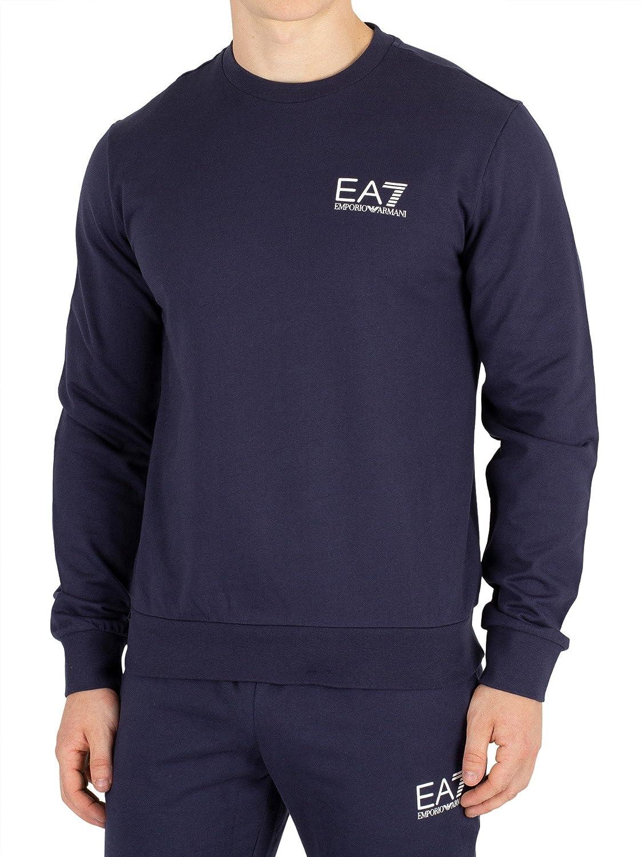 EA7 Herren Brust Logo Sweatshirt, Blau