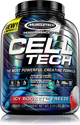 MuscleTech CellTech Creatine Powder, Micronized Creatine, Creatine HCl, Icy Rocket, 6.04 Pounds