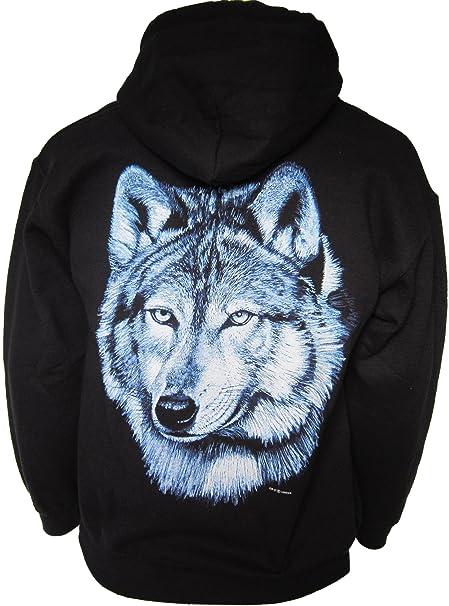 Lone Blue Wolf Husky Wildlife Biker Western Hooded Zip Top Black Unisex Hoody