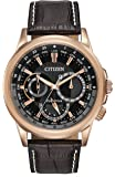 Citizen Watch CALENDRIER men's quartz Watch with black Dial chronograph Display and Dark Brown leather Bracelet BU2023-04E