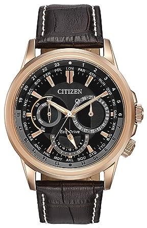 citizen watch calendrier men s quartz watch black dial citizen watch calendrier men s quartz watch black dial chronograph display and dark brown leather bracelet