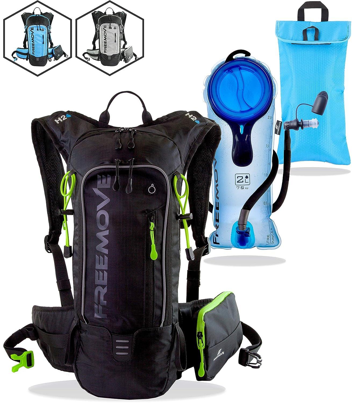FREEMOVE Hydration Pack - Camel Backpack - 2 Liter Water Bladder - Cooler  Bag - External Pocket | Lightweight, Fully Adjustable, Leakproof, 10L